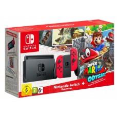 Игровая приставка Nintendo Switch (Красный) + Super Mario Odyssey