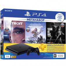 Игровая приставка Sony PlayStation 4 Slim 1 ТБ + Detroit + Horizon + Одни из Нас + PSN