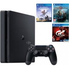 Игровая приставка Sony PlayStation 4 Slim 1 ТБ + God of War + GT Sport + Horizon: Zero Dawn