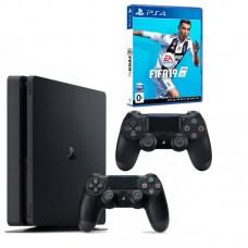 Игровая приставка Sony PlayStation 4 Slim 1 ТБ (Black) + DualShock 4 + FIFA 19