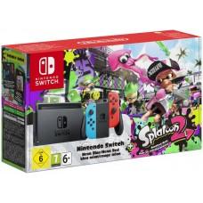 Игровая приставка Nintendo Switch (неоновый красный/неоновый синий) + Splatoon 2